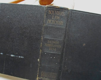 Vintage Bouvier's Law Dictionary 1934 Baldwin's Students Edition Large, Legal Terms Lawyer Library Textbook Judge Attorney Gift Trial Crime