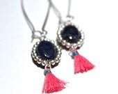 Lapis Earrings Pink Tassels Beaded Earrings Bohemian Earrings Boho Jewelry Lapis Lazuli Jewelry