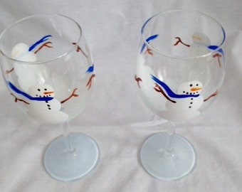 snowman hand painted wineglass