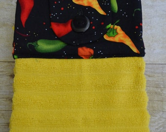 Hanging Kitchen Towels, Set of 2, Chili Peppers and Gumbo, Kitchen Towels, Hanging Towels, Bathroom Towels