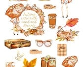 Autumn Chic - Decorative sheet with glitter accents