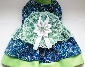 Lacy Green and blue Dog Dress