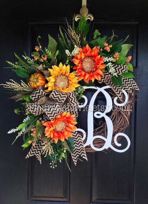 Best Seller Fall Wreath For Door Monogram Wreaths Fall