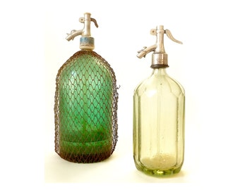 Vintage Green Seltzer Bottles ... Retro Siphon Glass, Soda Bottles, Industrial Barware, Home Decor, Mesh Cover Soda Bottle, Rustic Urban