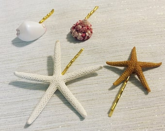 Mermaid Hair Accessories: Set of 4 + Starfish Bobby Pins + Beach Wedding + Bridal Hairpiece + Flower Girl Hair + Sugar Starfish + Sea Shells