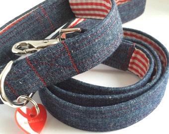 Denim Levi Handmade Dog Collar and Lead