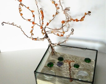 Zen Garden Calming Meditation and Balance Copper Tree Rose quartz and Carnelian Stained Glass