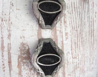 Silver and Velvet Shoe Buckles