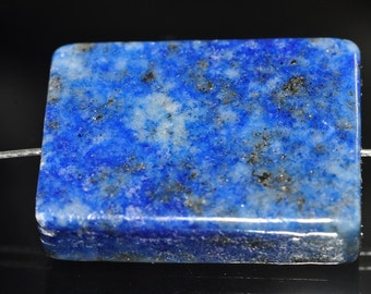 Listed @ 15% Off Sale Was 8.99---18x24x6mm Afghanistan Blue LAPIS LAZULI Pyrite Rectangle Bead Pendant - M0959