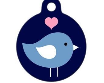 Pet ID Tag - Little Blue Birdy Pet Tag, Dog Tag, Cat Tag