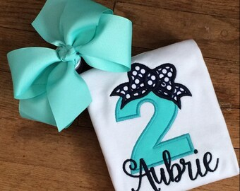 Mint Navy polka dot bow Personalized Boutique Number Birthday Boutique First 1st 2T 3 4 5 6 8 Girls Applique Short Long Sleeve Shirt Tank