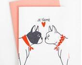 Je T'aime French Bulldog Card
