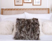 """Raccoon fur pillow 16"""" x 16"""" square shaggy multi color brown grey tan cream case only no Insert"""