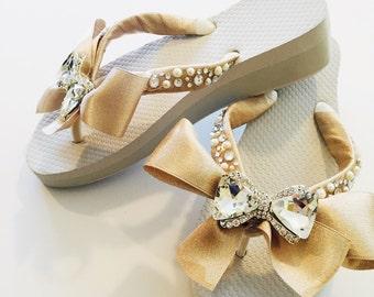 Bridal Flip Flops/Wedges/Wedding Flip Flops.Bridal Shoes.Wedding Shoes.Mother of the Bride Shoes.Bridesmaids Flip Flops.