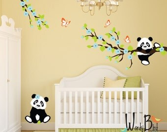 Panda Wall Decals With Cherry Blossom Branches And Butterflies, Reusable Kids  Wall Decals, Nursery
