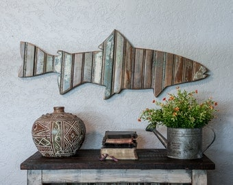 Fish wood trout wall hanging wooden cutout beach house lake house fisherman fun rainbow trout sign nautical salmon river