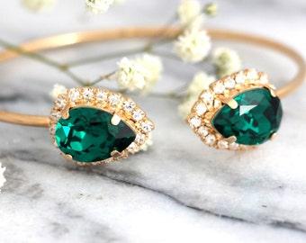 Emerald Bracelet, Emerald Bridal Bracelet,Bridal Rose Gold Bracelet,Bangle Gold Bridal Bracelet,Bridesmaids Gifts,Rose Gold Emerald Bracelet