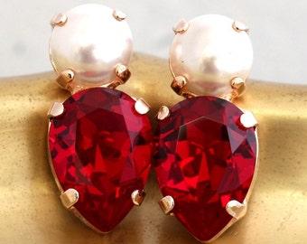 Ruby Earrings, Swarovski Ruby Earrings,Swarovski Ruby Earrings,Crystal Ruby Earrings,Gift for her,Bridesamids Earrings,Pearl Stud Earrings