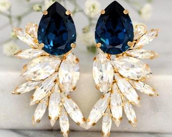 Blue Navy Earrings, Bridal Navy Blue Earrings, Swarovski Bridal Earrings,Cocktail Earrings,Big Earring, cocktail earrings, Wedding Earrings