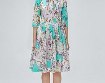 Garden party dress, 1950s floral dress, 50s style dress, 50s floral dress, mint green 50s dress, plus size dress, button up dress