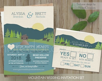Mountain Wedding Invitation - Mountain Wedding and Lake Wedding | Great for Camping Weddings | Campground Casual Wedding Digital Printable