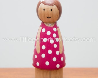 Wooden peg doll girl hand painted - cute girl doll in pink dress with spots dolls house childs toy