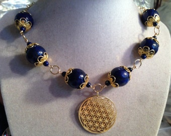 Lapis Necklace - Navy Blue Jewelry - Gold Pendant - Lapis Lazuli Gemstone Jewellery - Gold Chain - Chunky - Statement