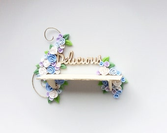 Dollhouse shelf with pale blue and white roses to fit 1:12 scale miniature dollhouse