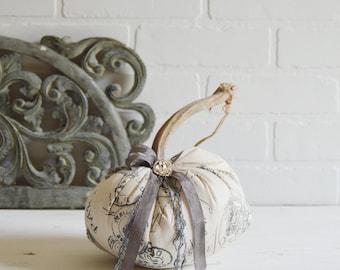French Fabric Pumpkin, Fabric Pumpkin, Linen Pumpkin, French Script Pumpkin, Fall Decor, Pumpkin, Linen Pumpkin, Grey Pumpkin