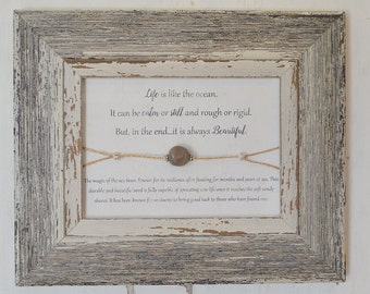Sea Bean Nickernut Inspirational Frame - Life is Beautiful