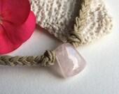 Scarlet's Rose Quartz Hemp Necklace