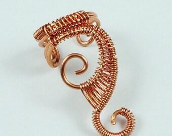 Summer Sale - 10% off - Woven Swirly Copper Ear Cuff