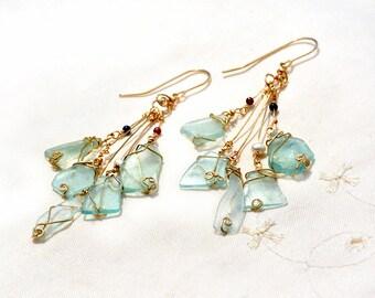 Roman Glass Gold Filled Cluster Earrings Delicate Very Long Five Dangle Roman Glass Earrings Ancient Roman Glass Jewelry Gold Filled Jewelry
