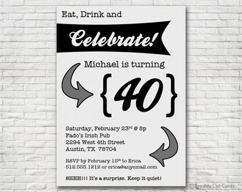 Eat Drink and Celebrate Invitation - Printable or Printed (w/ FREE Envelopes!)