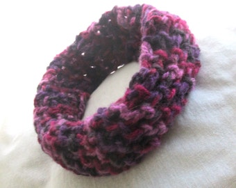 BRAND NEW LISTING - Small Crocheted Purple , Plum and Pink , Mauve Cowl