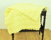 Knit Baby Blanket Vintage Blanky Pastel Yellow Boy / Girl Throw Newborn Gift Youth Throw Coverlet