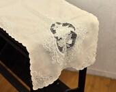 Battenburg Lace Vintage Tablerunner Tablecloth Rectangular Beige w/ Blue Embroidery Needlework Victorian