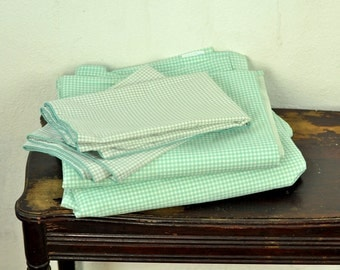 Vintage Queen Sheet Set Remixed Linens Checks Green & White Bedding Shabby Cottage Chic