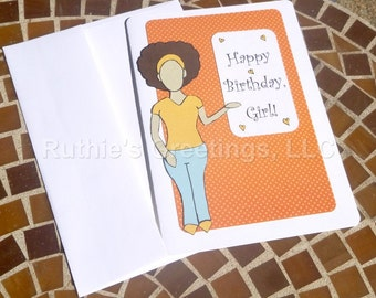Afro Puff Birthday Card