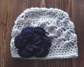 Girl Crochet Hat, Newborn Girl Hat, Gray and Navy Hat, Baby Girl Hat, Newborn Photography Prop, Girls Gray Hat, Baby Girl Beanie