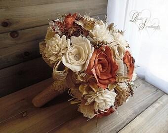 Will Ship in 4 Weeks ~~~ Rustic Burnt Orange Fall Bridal Wedding Bouquet Large, Sola Flowers, Burlap, Lace, Rhinestones