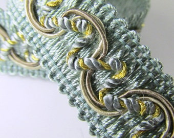 Seafoam Green, Taupe and Gold 20mm Home Decorator Fancy Braided Gimp Trim