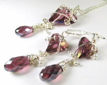 Swarovski Plum Purple Lilac Shadow Wire Wrapped Wild Heart Necklace and Earring Set in Sterling Silver