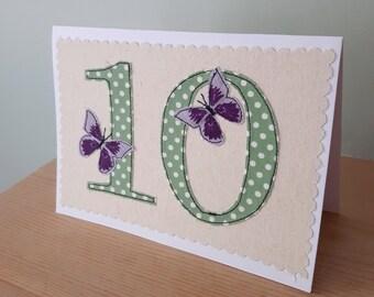 age 10 birthday card, ten anniversary card, number 10, 10th Birthday