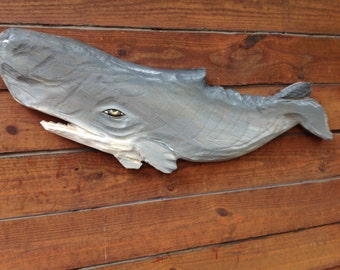 "Nautical Sperm Whale 36"" chainsaw wooden whale carving Ocean Arts vintage look home decor seashore indoor outdoor maritime sculpture"