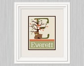 "Personalized with any Name! ""Echo Animals/Woodland Forest"" 8x10 inch Nursery Art Print So Cute!"