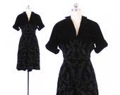 Vintage 50s Velvet Dress / 1950s NETTIE ROSENSTEIN Studded Soutache Full Skirt Dress XS