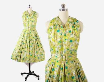Vintage 50s Party DRESS / 1950s FLORAL Silk Full Skirt Sleeveless Halter Dress with Belt S