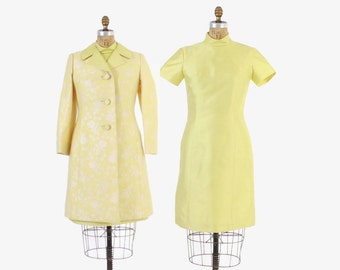 Vintage 60s DRESS SET / 1960s Yellow Silk Dress & Matching Floral Brocade Jacket 2 Piece Set M