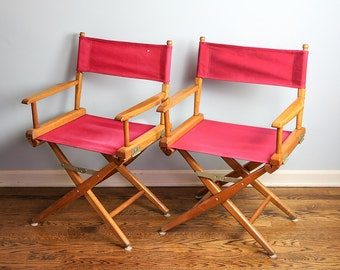 Vintage Wooden Director Chairs, Folding Wooden Chairs, Mid Century Chair, Film Director, Red Chair, Telescope Folding Chair